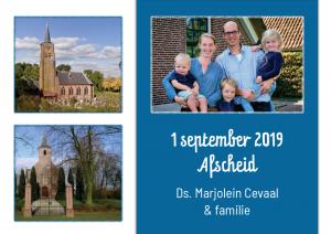 Uitnodiging afscheidsdienst Dominee Cevaal-Erbrink